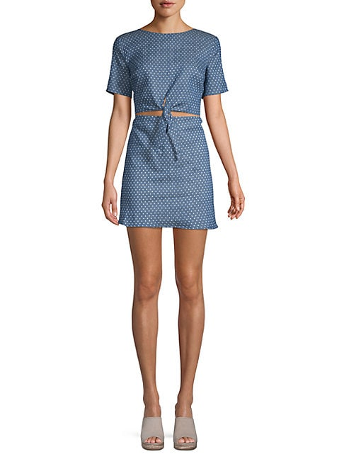 LUCCA COUTURE Kennedi Front-Tie Dress in Ocean Blue