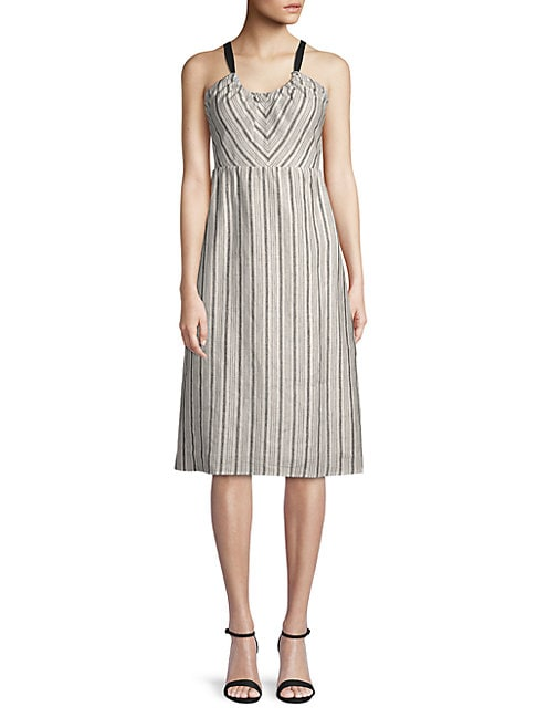 LUCCA COUTURE Daphne Linen Midi Dress in Canopy Stripe