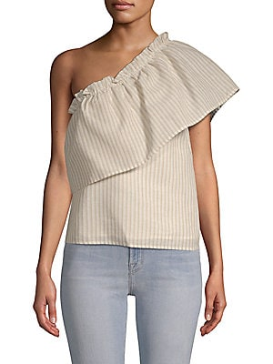 LUCCA COUTURE Juliana One-Shoulder Striped Cotton Top in Beige