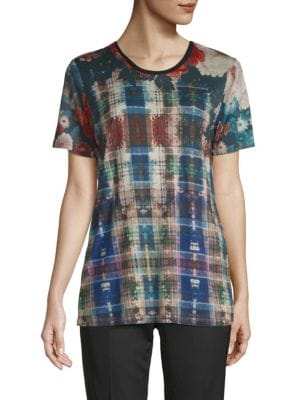 Robert Graham Enya Floral Plaid Tee