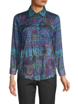 Robert Graham Mosiac Print Button Down Blouse