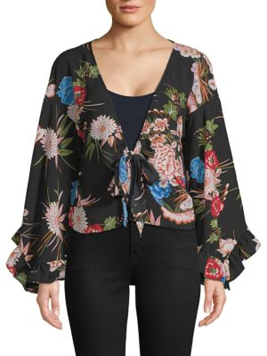 Haute Rogue BELL-SLEEVE FLORAL WRAP TOP