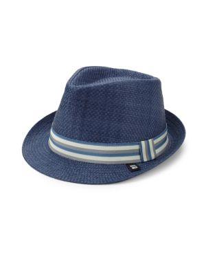 BLOCK HEADWEAR Stripe Band Straw Trilby in Blue