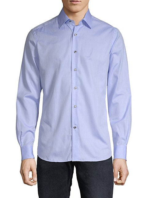 Long-Sleeve Cotton Button-Down Shirt