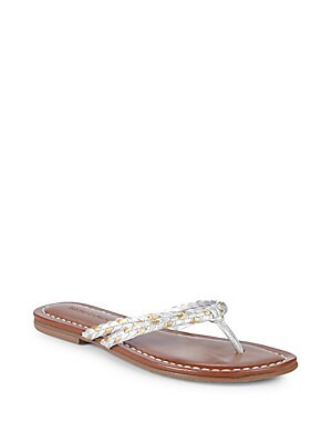 DOUBLE-STRAP LEATHER THONG SANDALS