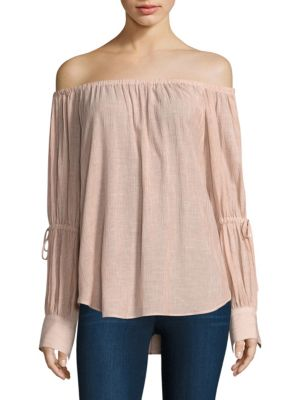 Ag Tallulah Tie Sleeve Off-The-Shoulder Top