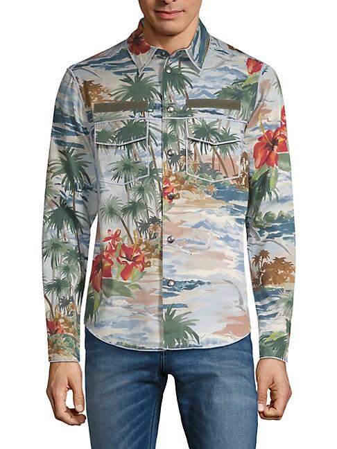 Tropical-Print Long-Sleeve Shirt