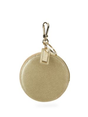 Keyring Leather Coin Purse in Gold