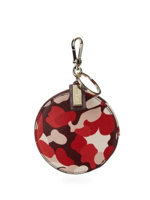 Printed Leather Coin Purse in Red