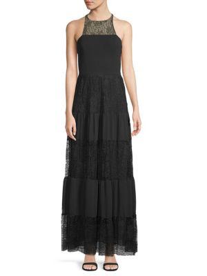 Ali & Jay Lace-Paneled Sleeveless Gown