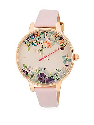 STAINLESS STEEL FLORAL LEATHER-STRAP WATCH