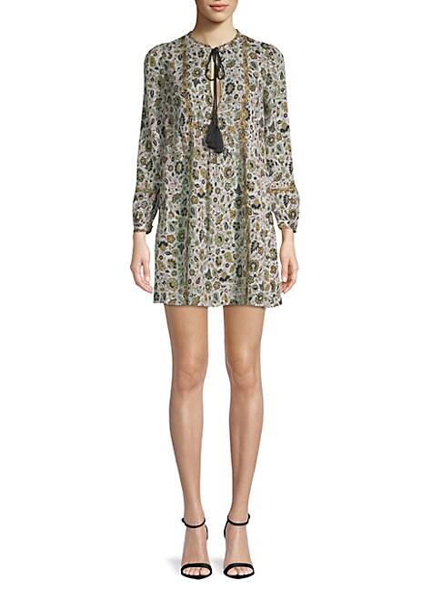 Dominique Floral Silk Dress