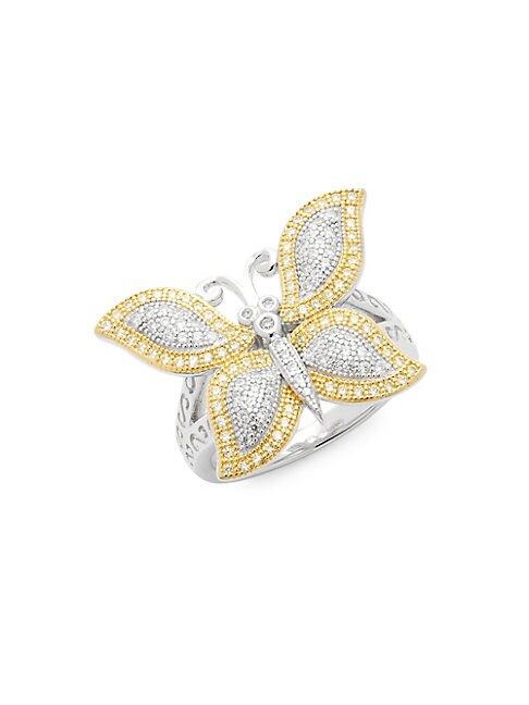 Canary Crystal & Sterling Silver Butterfly Statement Ring