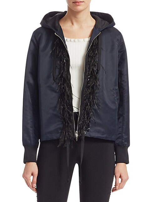 Colette Hooded Faux Feather-Trim Jacket
