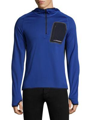 J. LINDEBERG Active Hooded Running Jacket in Blue Purple