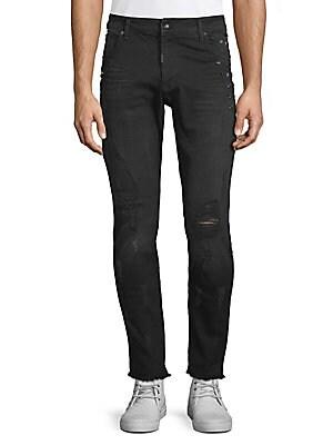 Distressed Raw Hem Jeans