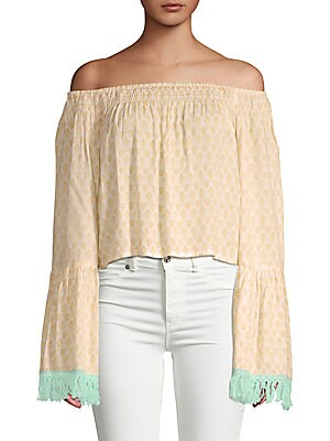 Gypsy Off-The-Shoulder Bell-Sleeve Top in Eggshell
