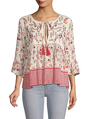 Primrose Printed Self-Tie Bell-Sleeve Blouse