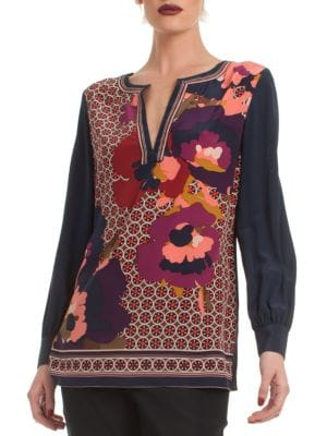 Engineered Mixed-Print Long-Sleeve Silk Tunic in Multi