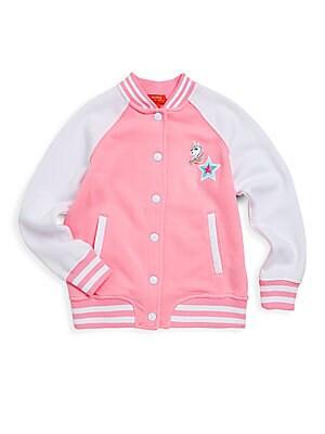 Girls Pony Graphic Fleece Bomber Jacket