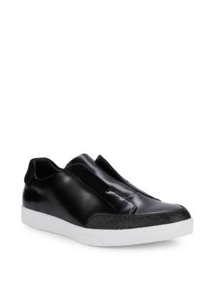 CALVIN KLEIN Men'S Immanuel Leather Slip-On Sneakers Men'S Shoes in Black