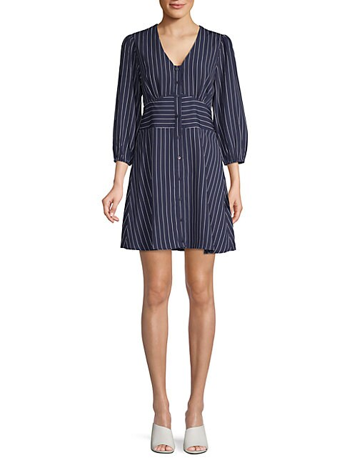 19 COOPER Pinstriped Puffed-Sleeve A-Line Dress in Navy Stripe