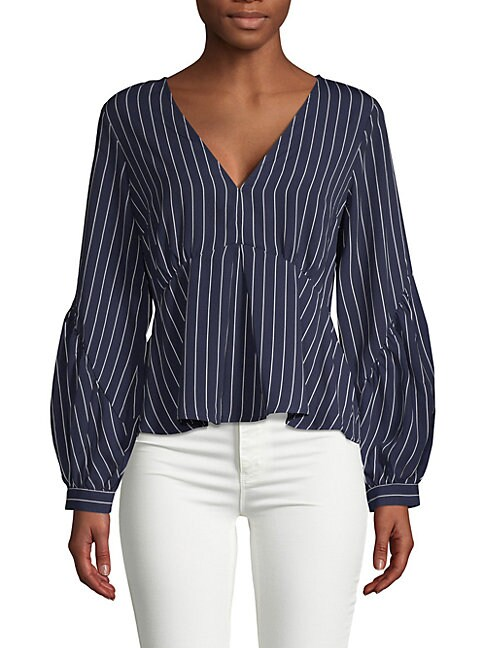 19 COOPER | Pinstriped Puffed-Sleeve Top | Goxip