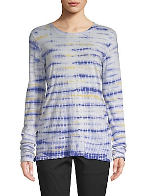 Tie-Dyed Long-Sleeve Cotton Tee, Blue