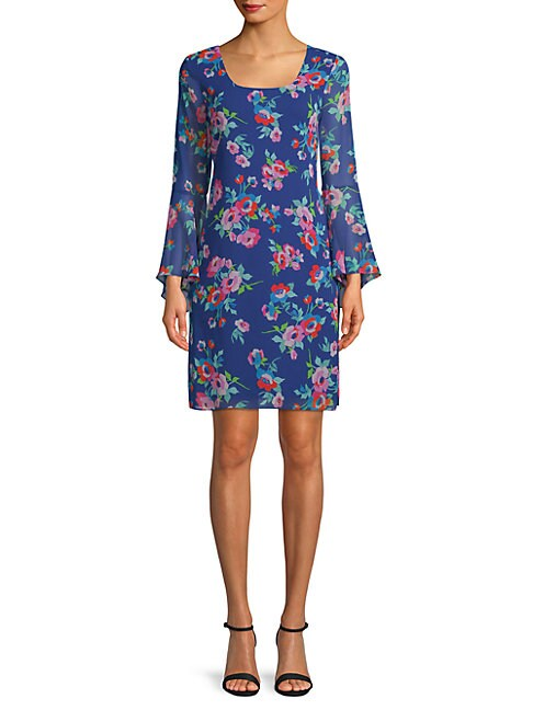 Floral-Print Bell-Sleeve Sheath Dress