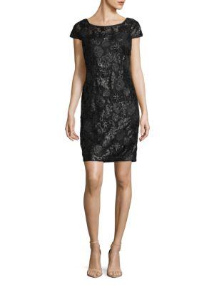 Calvin Klein Sequin Cap Sleeve Dress In Black Modesens
