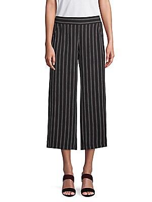MAX STUDIO Striped Wide-Leg Cropped Pants in Black