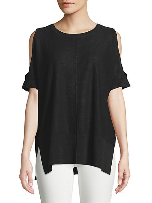 Cold-Shoulder Linen Sweater