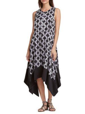 Sleeveless Tie-Dye Handkerchief Midi Dress in Black from DKNY
