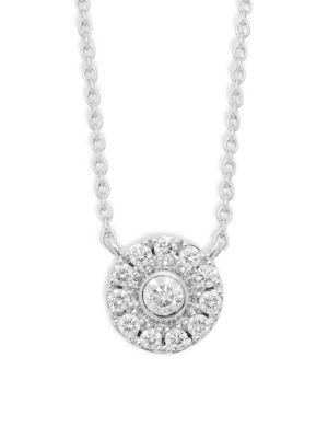 Kwiat Diamond 18K White Gold Bezel Pendant Necklace