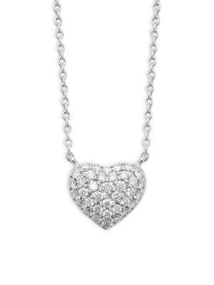 Kwiat Diamond 18K White Gold Heart Pendant Necklace