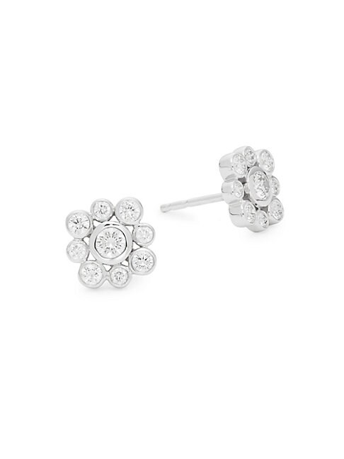 Kwiat 18K WHITE GOLD DIAMOND FLOWER STUD EARRINGS