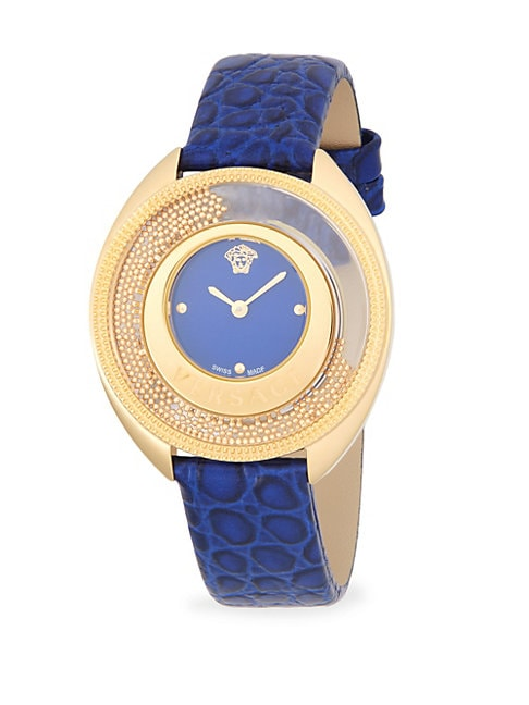 Textured Round Stainless Steel and Leather-Strap Watch