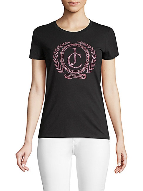 JUICY COUTURE BLACK LABEL Laurel Graphic Cotton Tee in Pitch Black