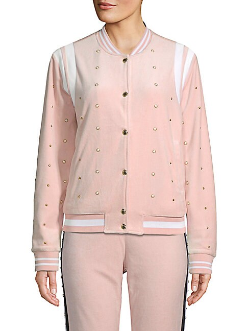 JUICY COUTURE BLACK LABEL Faux Pearl-Embellished Velour Bomber Jacket in Soft Glow