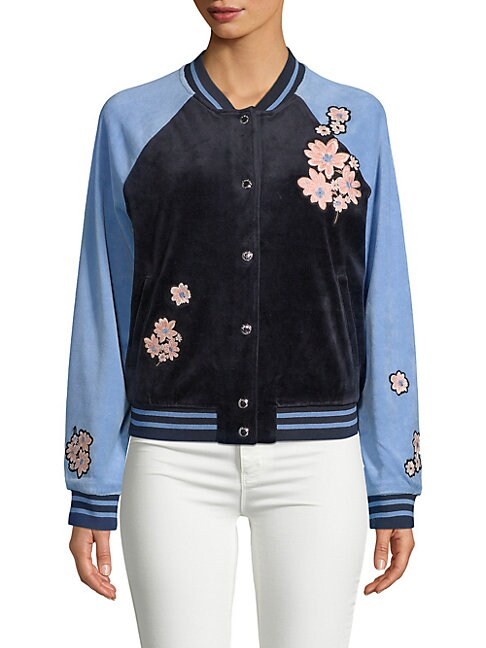 JUICY COUTURE BLACK LABEL Floral-Patch Velour Bomber Jacket in Regal