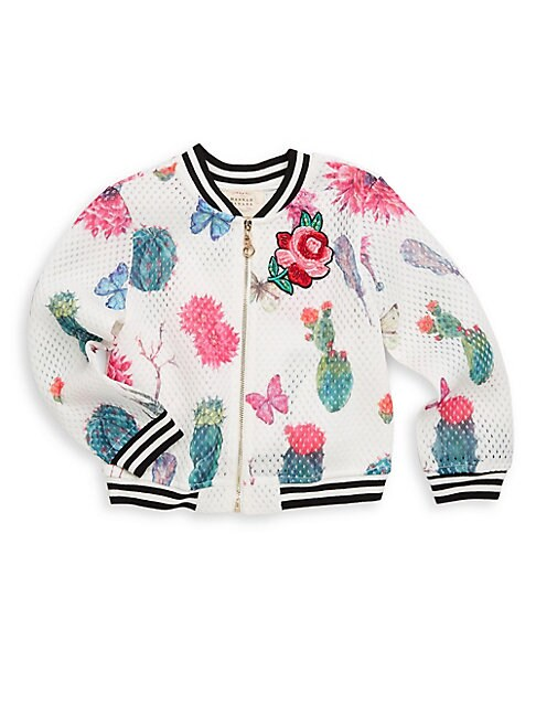Little Girl's Embroidered Floral Bomber Jacket