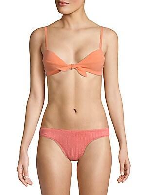 VIX SWIM Boucle Knot Bralette Bikini Top in Peach