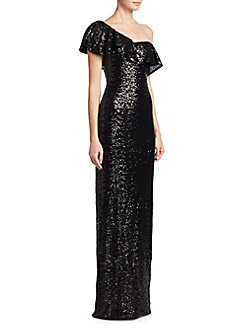Theia - One-Shoulder Ruffled Gown
