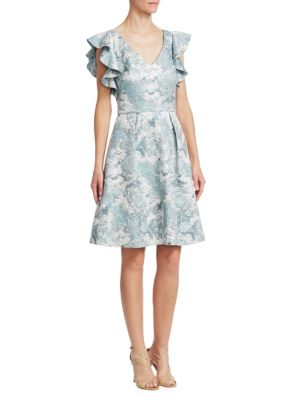 Theia Jacquard Fit-and-Flare Dress