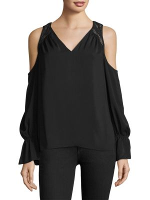 Ramy Brook Tops Abigail Cold-Shoulder Lace-Panel Blouse