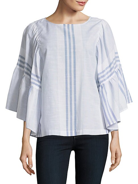 BEACH LUNCH LOUNGE | Striped Wide-Sleeve Blouse | Goxip