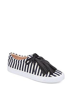 Logan Tassel Striped Sneakers, White Eclipse