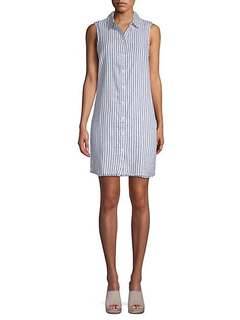 BEACH LUNCH LOUNGE | Sleeveless Striped Shirtdress | Goxip