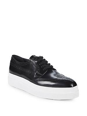 Brogue Leather Platform Derbys, Black