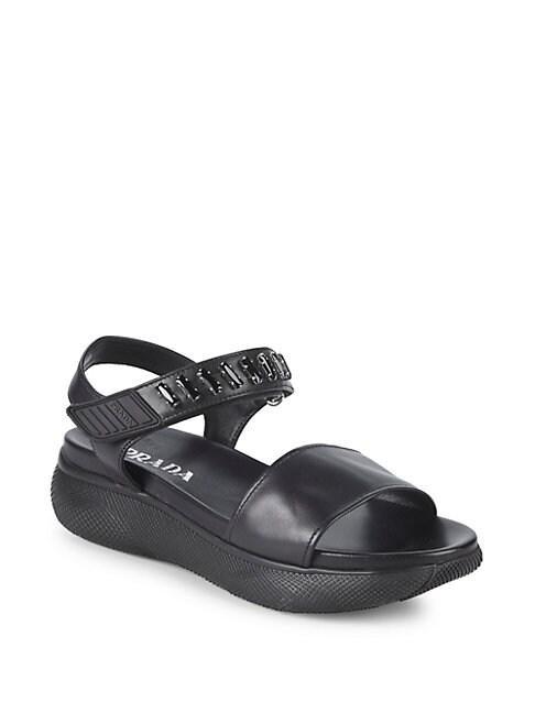 Embellished Leather Platform Sandals
